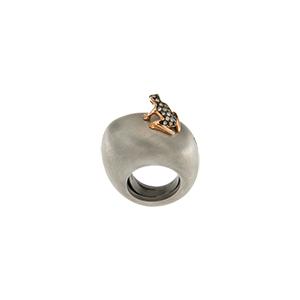 Mono orecchino Happy Frog in oro rosa e diamanti brown