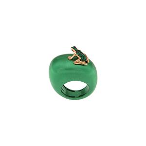 Mono orecchino Happy Frog in oro rosa e smeraldi
