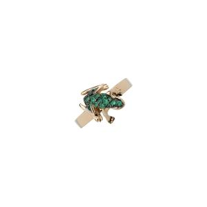 Orecchini Happy Frog in oro rosa e smeraldi
