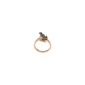 Orecchini Happy Frog in oro rosa e diamanti brown