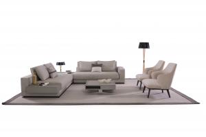 ARIA - Divano angolare con tavolino in legno ad  angolo - 5 posti maggiorati - cuscini sfoderabili