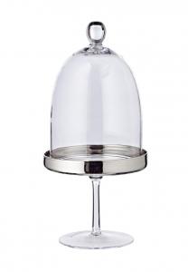 Alzata filo platino e campana in cristallo cm.31,5h diam.15,5
