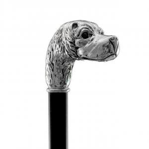 Bastone da passeggio di lusso Brown Spaniel impugnatura rivestita in argento puro 999 cm.93h