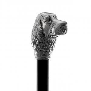 Bastone da passeggio di lusso Cocker impugnatura rivestita in argento puro 999 cm.93h