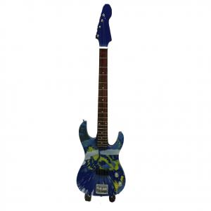 Miniatura chitarra azzurra in legno dipinto con base per appoggia 25,5cm