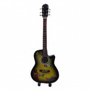 Miniatura chitarra PEARL JAM in legno dipinto con base per appoggia 25,5cm