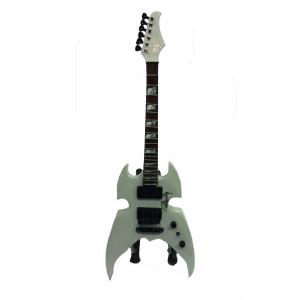 Miniatura chitarra grigio chiaro in legno dipinto con base per appoggia 25,5 cm