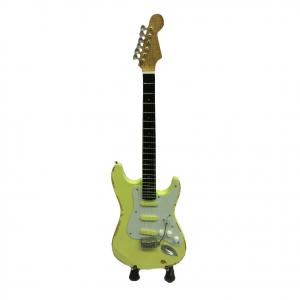 Miniatura chitarra vintage in legno dipinto con base per appoggiare 25,5cm