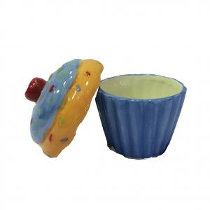 Scatolina in ceramica dipinta a CUP CAKE arancione blu porta oggetti e gioielli