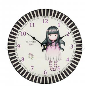 SANTORO GORJUSS orologio da parete in vetro cm30,scatola regalo alimen.1 pila AA