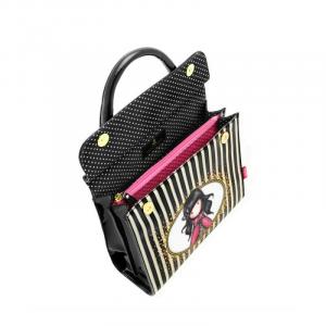 SANTORO GORJUSS borsa tracolla in PVC chiusura calamitata cm24x23,2 +portachiavi