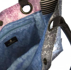 SANTORO GORJUSS borsa in cordura manici in ecopelle cm35x37x11,5 tasca interna