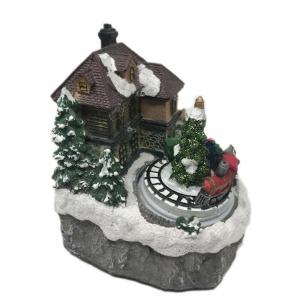 NATALE carillon scena natalizia musica movimento e luci 12x10x14 cm circa