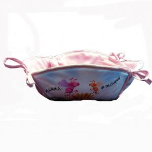 MAMMA Portapane in stoffa che si apre fantasia rosa MAMMA SEI DOLCISSIMA