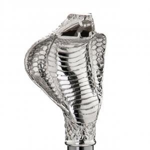 Bastone da passeggio di lusso Cobra impugnatura rivestita in argento puro 999 cm.96h
