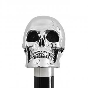 Bastone da passeggio di lusso impugnatura teschio rivestita in argento puro 999 cm.91h