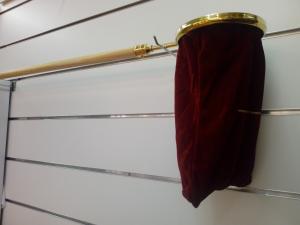 Sacco borsa per raccogliere offerte questua in velluto Grigio cenere con manico mt. 1