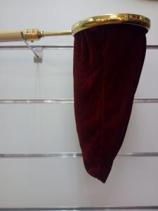 Sacco borsa per raccogliere offerte questua in velluto Rosso con manico mt. 1