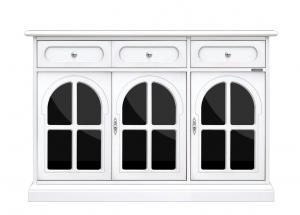 Aparador lacado 3 puertas con plexiglás