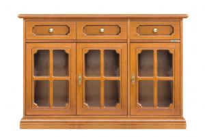 Aparador estilo clásico 3 puertas vitrinas en madera