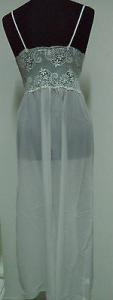 Camicia da notte spallina stretta. LE STELLE. MADE IN ITALY. Bianco/panna. 005