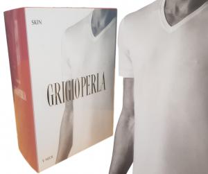 T-Shirt uomo maglietta intima corta scollo V - Lycra e Cotone GRIGIOPERLA 22169