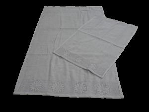 Set 12 asciugamani spugna. VINGI RICAMI, DAISY. 6 Viso + 6 ospite. 100% Cotone.