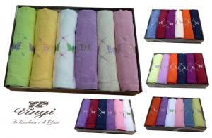 Set 12 asciugamani spugna. VINGI RICAMI, FARFALLE 6 Viso + 6 ospite. 100% Cotone