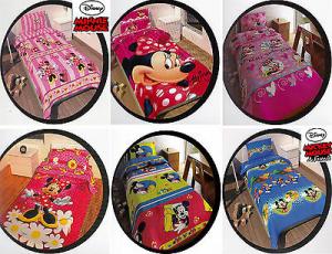 Set Lenzuola DISNEY. Mickey Mouse, Minnie Mouse. 100% Cotone. Singolo - 1 piazza