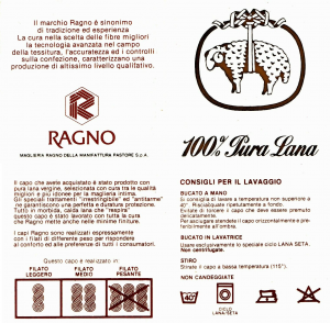 RAGNO T-Shirt, Maglietta intima Manica Lunga, girocollo, Uomo 100% Pura Lana 315