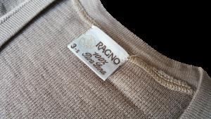 RAGNO T-Shirt, Maglietta intima Manica Lunga, girocollo Uomo 100% Pura Lana 1800