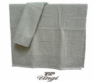 Coppia asciugamani spugna VINGI RICAMI DAISY FIORE 1 Viso + 1 ospite 100% Cotone