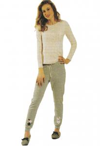 Pigiama invernale Donna in Caldo Cotone Lungo con elastici KICCHE YOUNG - 1619
