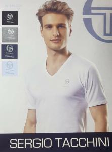 SERGIO TACCHINI. Maglietta intima TV500, Uomo corta, scollo a V in Cotone caldo.