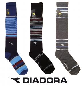 3 Paia Calzettoni, calza lunga Uomo. DIADORA. Art. DC5031. Grigio + Blu + Nero.