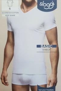 T-Shirt uomo maglietta intima manica corta scollo V Cotone BASIC V NECK SLOGGI
