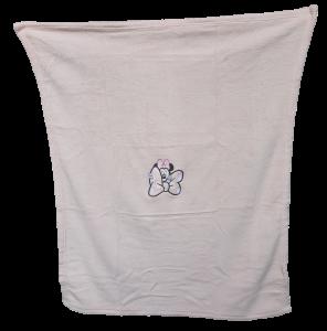 Copertina Baby in soft pile ricamata 75x100 Culla (Carrozzina). DISNEY - MINNIE