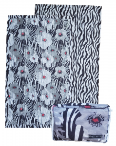 DAUNEX . Telo, asciugamano mare FLOWERS in microfibra 100 x 170 con borsetta.