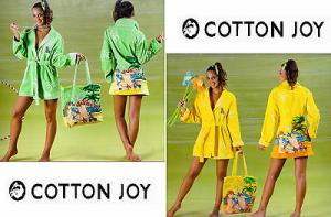 Accappatoio Donna. COTTON JOY. Spugna - 100% Cotone. COCKTAIL 5. Giallo e Verde.