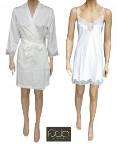 FIDA Lingerie. Coordinato Sposa, Donna. Canotta stringhe + Kimono pizzo. B128/9.