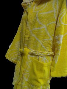 Accappatoio Donna. COTTON JOY. Spugna - 100% Cotone. HIPPOCAMPUS. Verde e Giallo