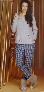 MANAM. Pigiama caldo Donna, lungo, invernale, Felpa cappuccio pelliccetta - 8919