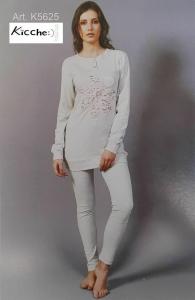 Pigiama invernale Donna in Caldo Cotone Lungo bordato KICCHE YOUNG - K5625