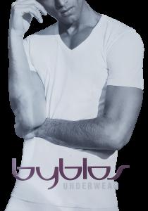 T-Shirt uomo, maglietta intima manica corta scollo a V in Cotone BYBLOS 680802