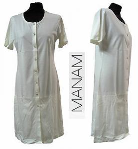 Camicia da notte bottoni, Canotta Clinica, mezza manica. 100% Cotone. MANAM 7123