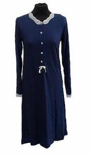 Camicia da notte con Manica Lunga. Caldo Cotone. DOLCI CHICCHE - 1415. Blu.