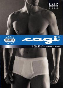 CAGI. 3 Slip uomo classici con apertura, 1200. 100% Cotone Costina. Sanitized.