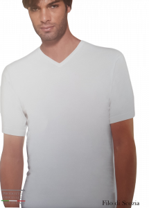 T-Shirt uomo filo di scozia maglietta intima corta scollo V HENRY COTTONS HC1001