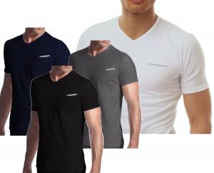 T-Shirt uomo 3 pezzi, maglietta intima manica corta scollo V, Cotone DIADORA 901