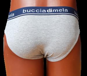 BUCCIADIMELA. 3x Slip uomo STRECH COTTON Underwear - MS01. Grigio + Blu + Nero.